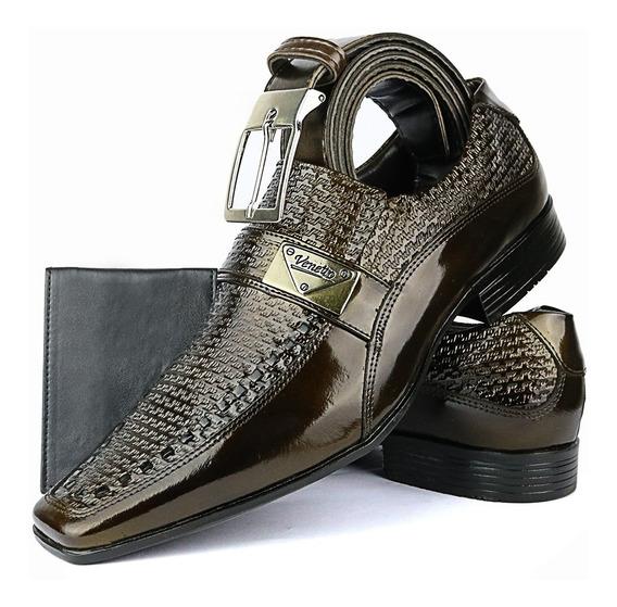 Sapato Social Em Couro Legitimo Envernizado E Cinto+carteira