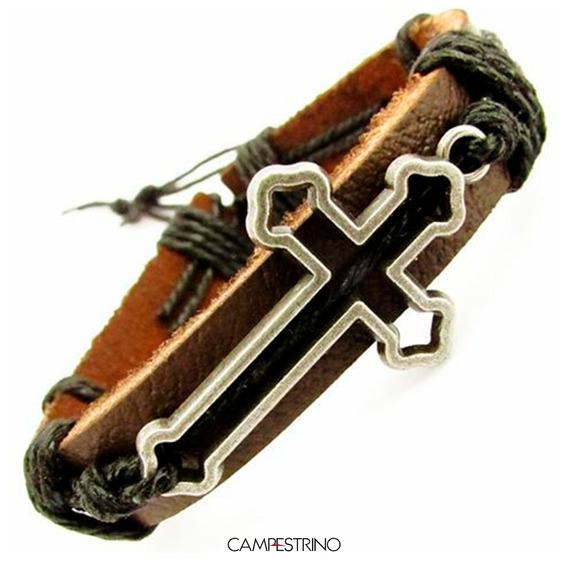 Pulseira Couro Legítimo Com Pingente Crucifixo Vazada