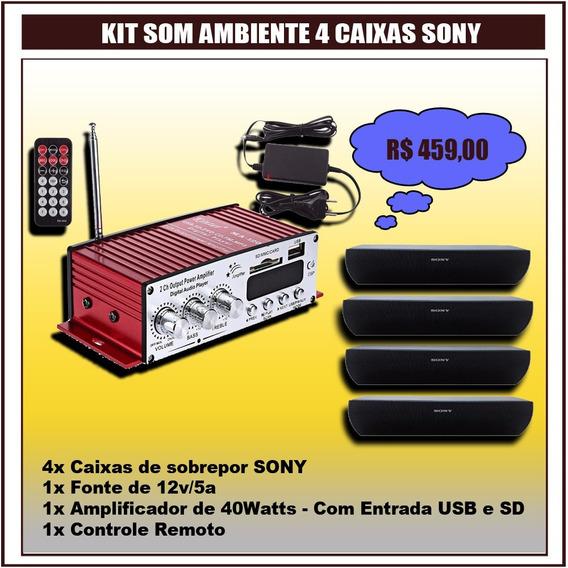 Kit Som Ambiente 4 Caixas Sony