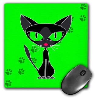 3drose 8 X 8 X 0.25 Inches Fancy Feline Black Cat Design On