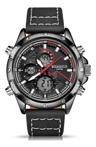 Relógio Masculino Esportivo Boamigo F924 Cronógrafo Couro
