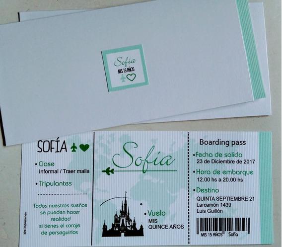 20 Invitaciones Tarjetas Ticket Vip Pass Quince Años 15 Años