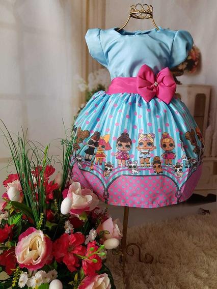 Vestido Festa Tematica Lol Suprise Azul 6 Anos