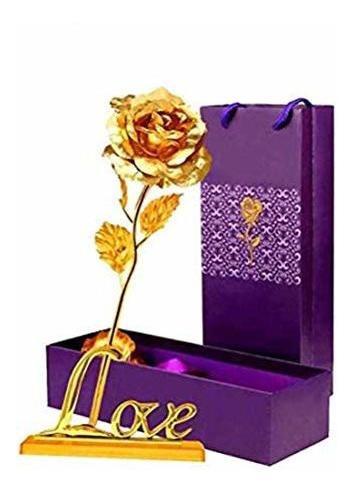 Regalos De Novia Lomiro Flor De Rosa De Papel De Oro De 24 K