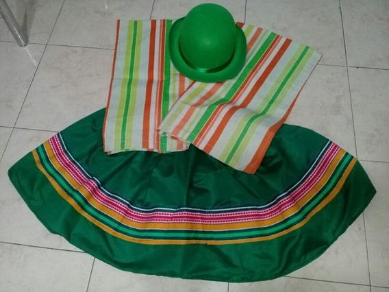 Pollera Verde Con Poncho Y Sombrero Verde Claro Coya