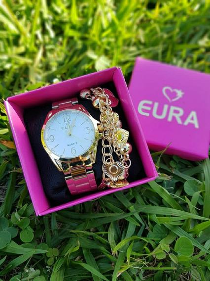 5 Relógios Femininos C/pulseira E Caixa Atacado
