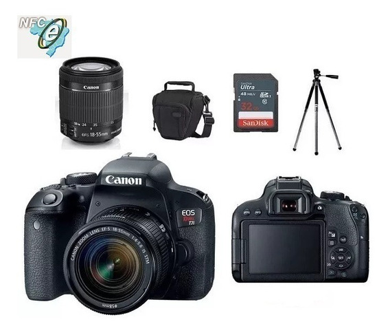 Canon T7i Lente 18-55mm Is Stm + Bolsa+tripé+32gb Nota Fiscal