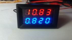 Voltímetro Amperímetro Led Vermelho E Azul 4 Dígitos 47x28mm