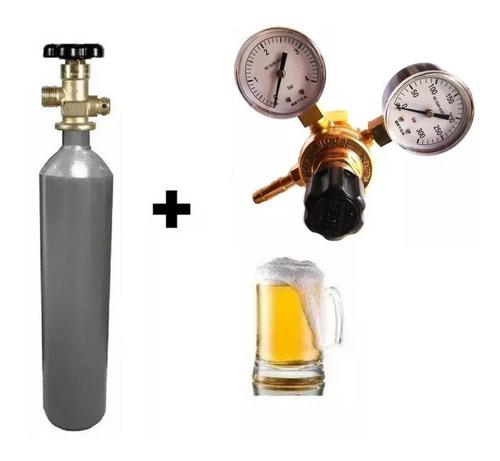 Tubo Co2 1/4 Mt3 + Regulador Carbonatar Cerveza 2 Manometros