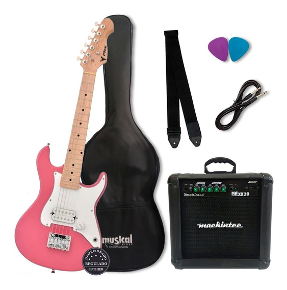 Kit Completo Guitarra Criança Infantil Phx Rosa Oferta!