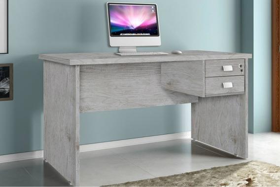 Mesa Para Computador Cinza Espaçosa Com 2 Gavetas 1 Chave