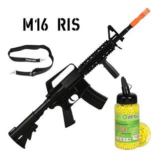 Airsoft Rifle Fuzil Spring Mola M16 A1 + Bbs Bb King 0.12g