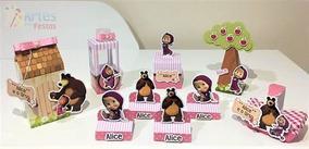 Kit: 100 Lembrancinhas Personalizadas - Masha E O Urso