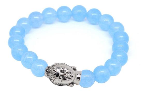 Pulseira Masculina Bracelete Pedra Natural Ágata Azul Claro