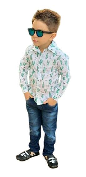 Roupa Infantil Camisa Social Cacto Masculina + Calça, Sapato