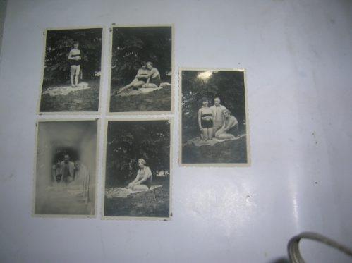 Antigua Foto Tarjeta Postal Mujeres Traje Baño Caballero