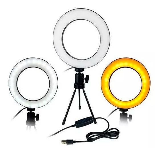 Iluminador Ring Light Led Mesa Usb P/ Fotos Maquiagem Vídeos