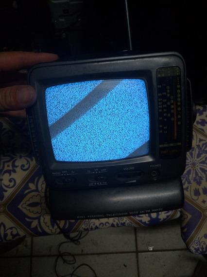 Mini Tv Preto Branco Monitor Radio