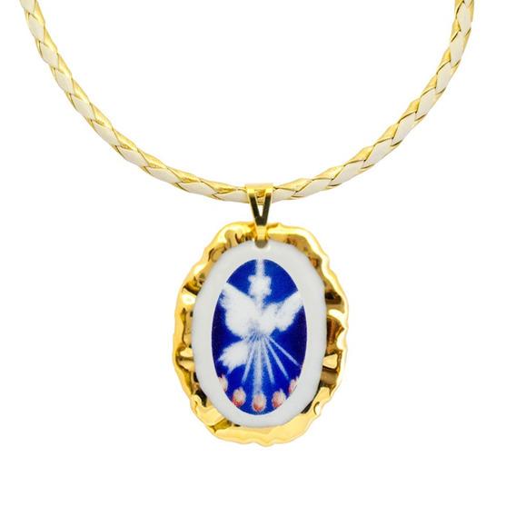 Medalha Espírito Santo Ouro E Corrente Couro Sintético
