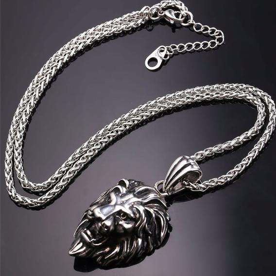 Colar Masculino Titânio Leão Tigre Aço Banho Ouro 18k C315