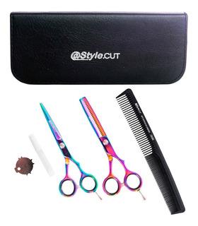@style.cut Tijeras Cobalto Arcoiris De Corte 5.5 + Pulir 5.5