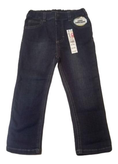 Pantalón Mezclilla Azul,cintura Ajustable Para Niñas Pequeña