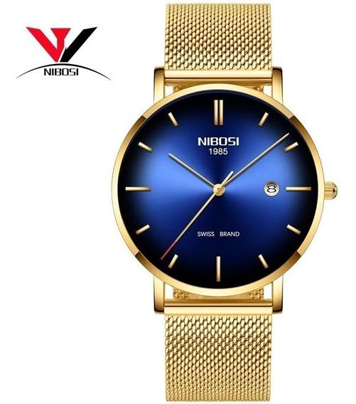 Relógio Nibosi 2362 Masculino Dourado Aço Inox Original
