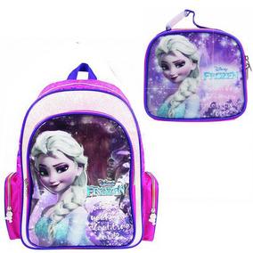 Kit Mochila Infantil Menina Frozen Original + Lancheira