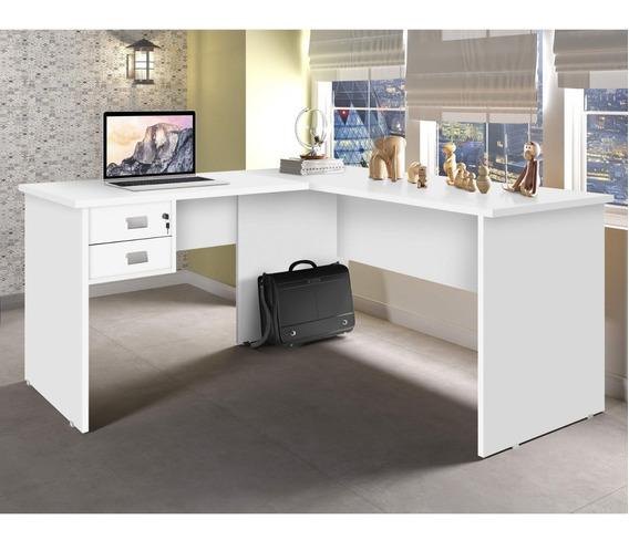 Escrivaninha Em L 2 Gavetas Thor Siena Móveis Branco C