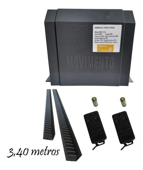 Motor Movimento Portão Deslizante Dm08 3,40 Metros, 2 Contr.