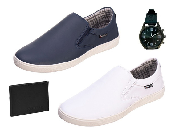 Kit Tenis Masculino Slip On 2 Pares C/ Carteira Relogio Bull