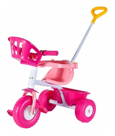 Triciclo Infantil Rondi Pink Metal C/manija Y Aro Sujetador