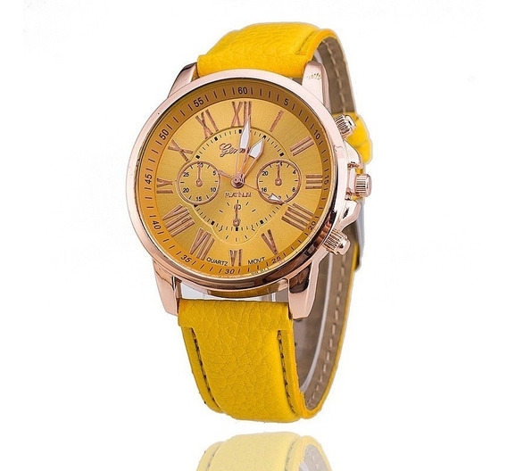 Relógio Feminino Geneva Amarelo - Promoção
