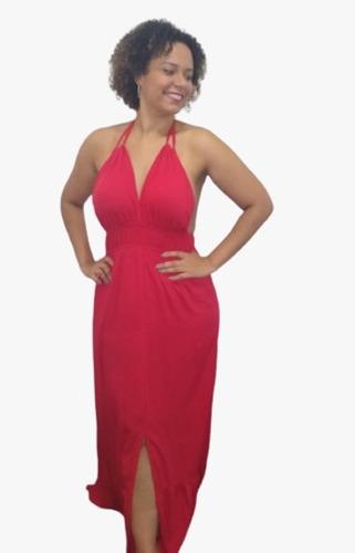 Vestido Vermelho Longo Com Bojo, Costas Nuas E Fenda Frontal