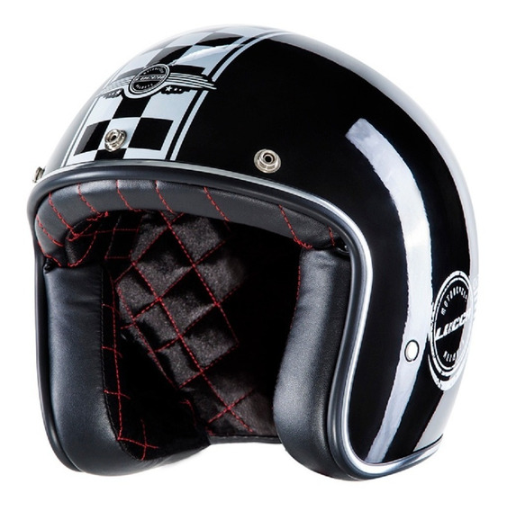 Capacete Lucca Custom Old School Glossy Black - Full