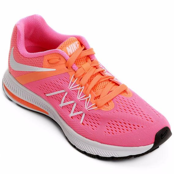 Tênis Nike Zoom Winflo 3 Feminino Rosa/laranja Nº34 Até Nº37