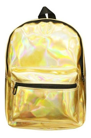 Mochila Bolsa Holográfica Grande Escolar Fashion