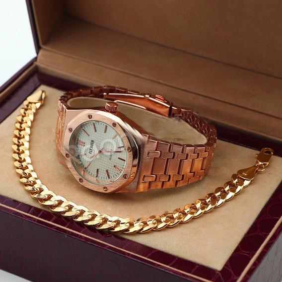 Reloj Fly High Con Brasalete De 22 Cm Laminado En Oro 14k