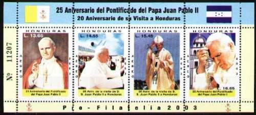 Honduras 2003 Papa Juan Pablo I I - Hojita De 4 Estampillas