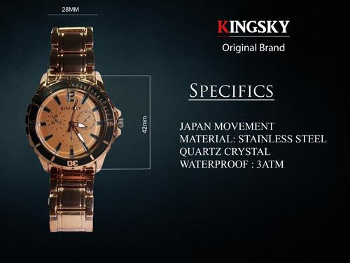 Imagen 1 de 10 de Reloj Kingsky Original Café Caballero Hombre Acero Inoxidable Envio Gratis