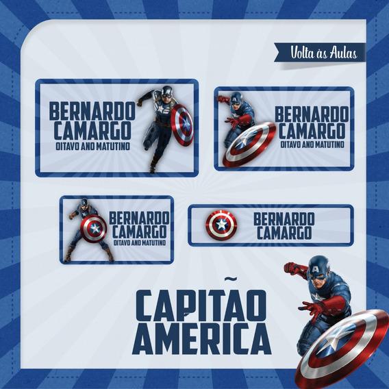 25 Etiquetas Escolares Capitão América