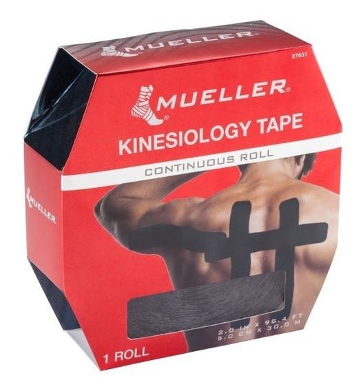 Cinta Quinesiológica Mueller Rollo De 5 Cm X 30 M. Negro