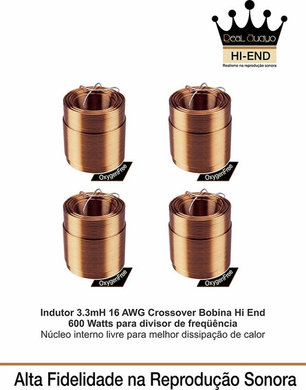 4x Indutor 3.3mh 16awg Crossover Frequencia Hiend Real Audio