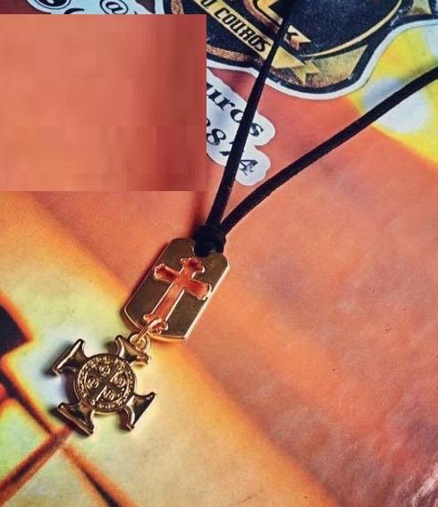 Colar Masculino Cruz E Medalha São Bento Folheado Ouro 18k