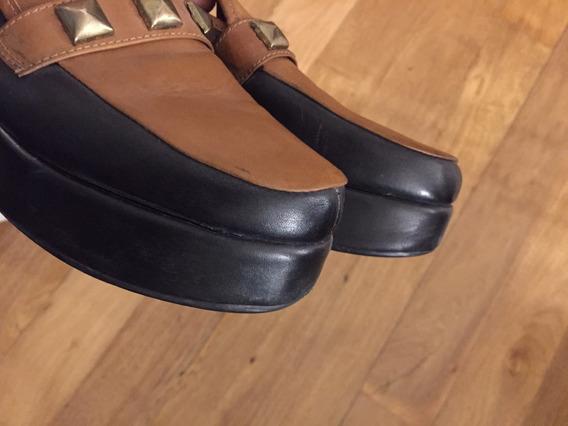 Zapatos Cuero Con Plataforma . 39
