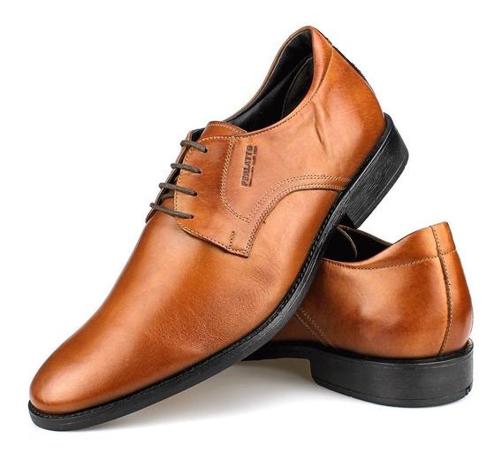Sapato Social Oxford Couro Amarração Caramelo - Perlatto