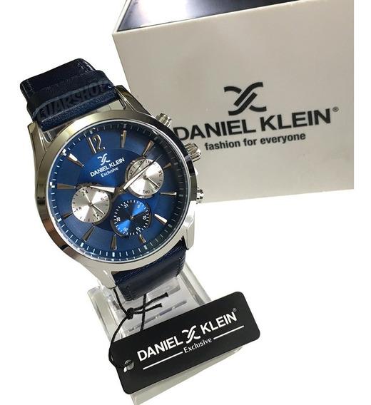 Relógio Masculino Couro Daniel Klein Exclusive Azul Original