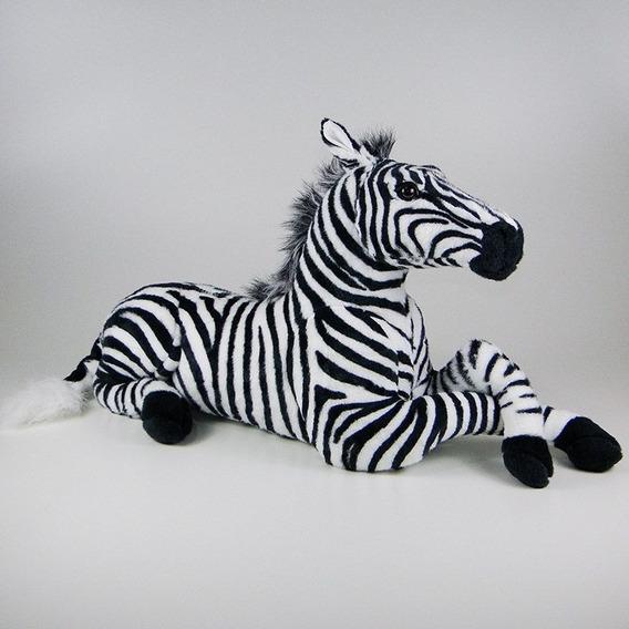Zebra De Pelúcia Realística Deitada - Safari