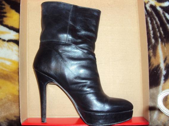 Botas Mujer Cuero Leg. N 37 Negras Impecables! Zona Domínico