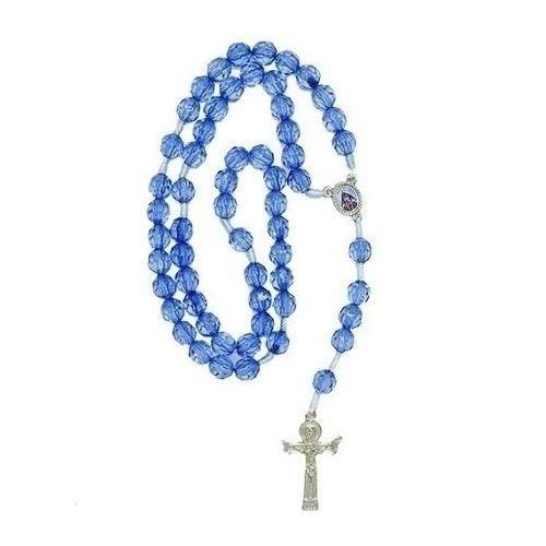 Terço Acrílico Azul Entremeio Nossa Senhora Aparecida
